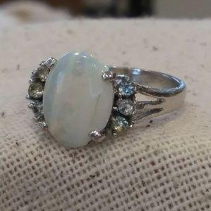 Vintage Avon faux Opal Rhinestone Silver tone Ring